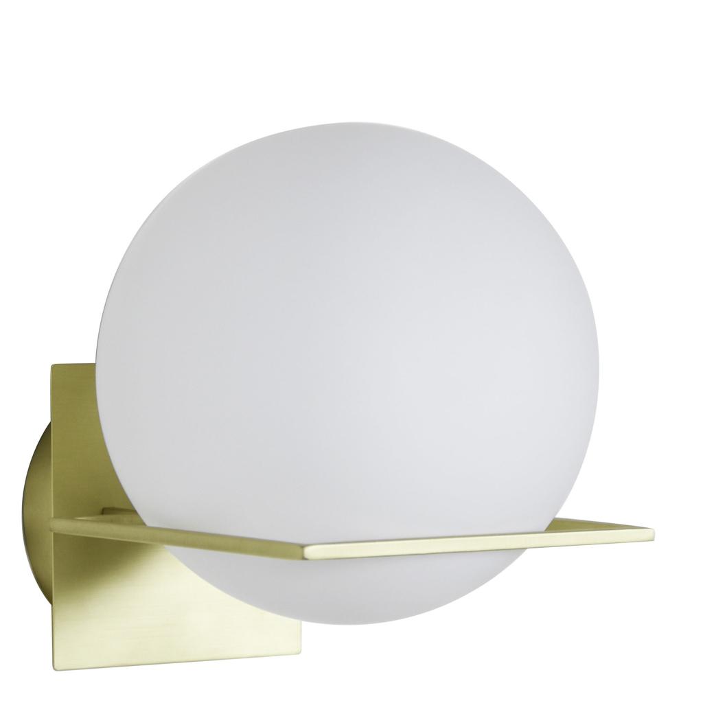 applique ronde verre opaline et laiton