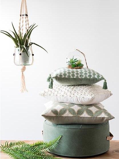 coussins motifs vert