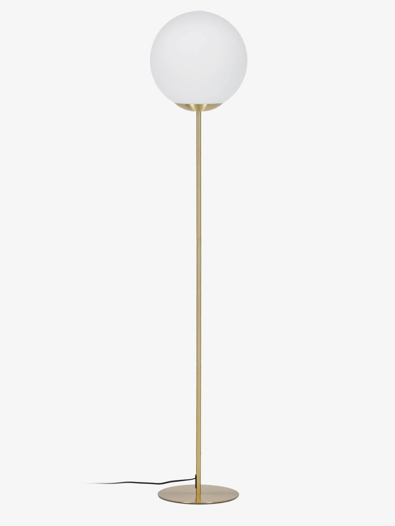 lampadaire globe opaline et laiton