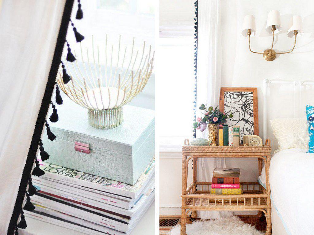 Des rideaux pompons une id e pour customiser des - Idee deco rideaux voilages ...