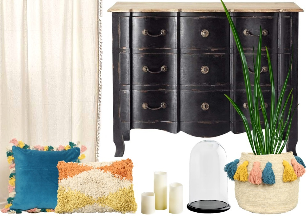 une chambre boh me ponctu e de couleurs joli place. Black Bedroom Furniture Sets. Home Design Ideas