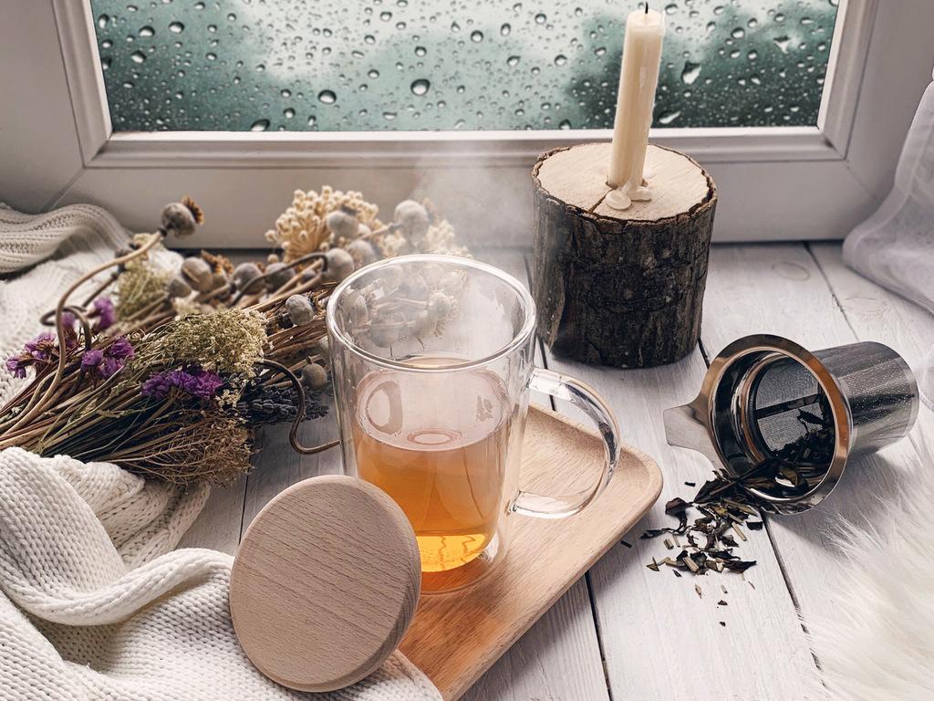 mug en verre avec couvercle