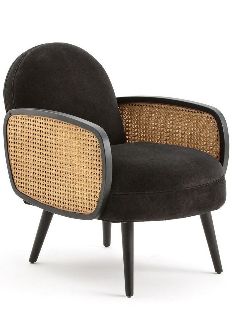 fauteuil velours noir