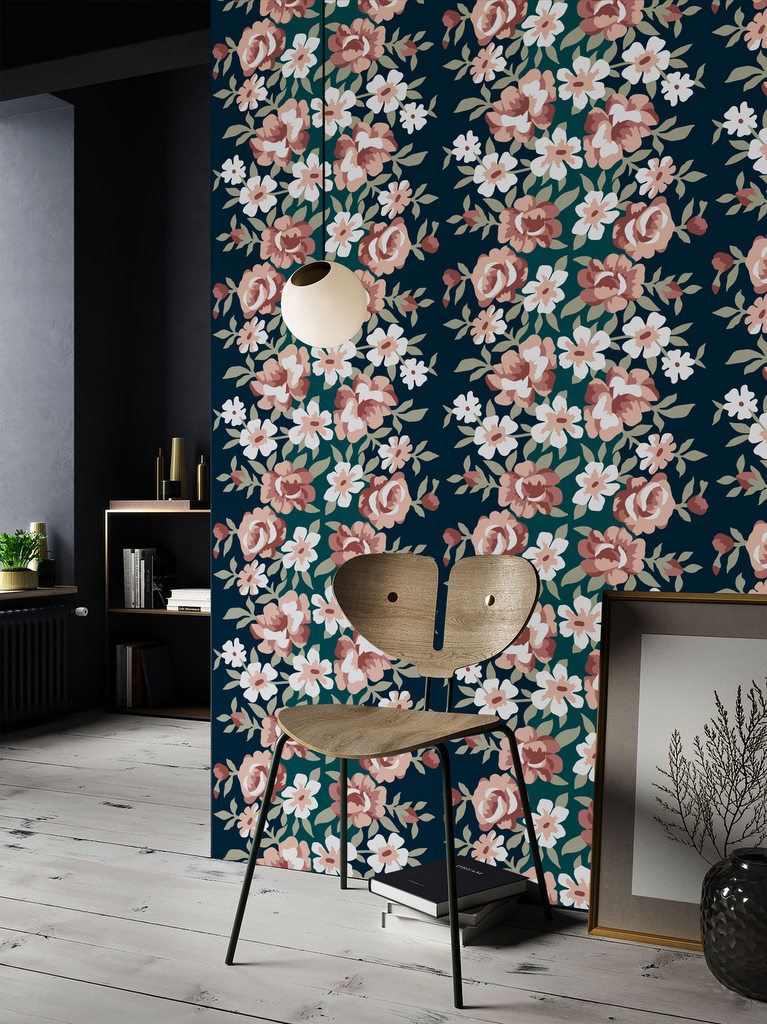 papier peint fleuri le retour du flower power joli place. Black Bedroom Furniture Sets. Home Design Ideas