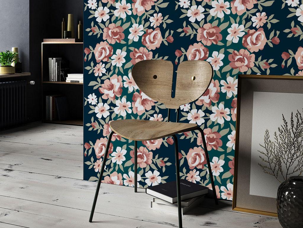 papier peint fleuri le retour du flower power joli place. Black Bedroom Furniture Sets. Home Design Ideas