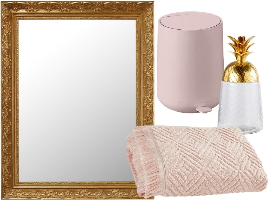 salle de bain rose et or