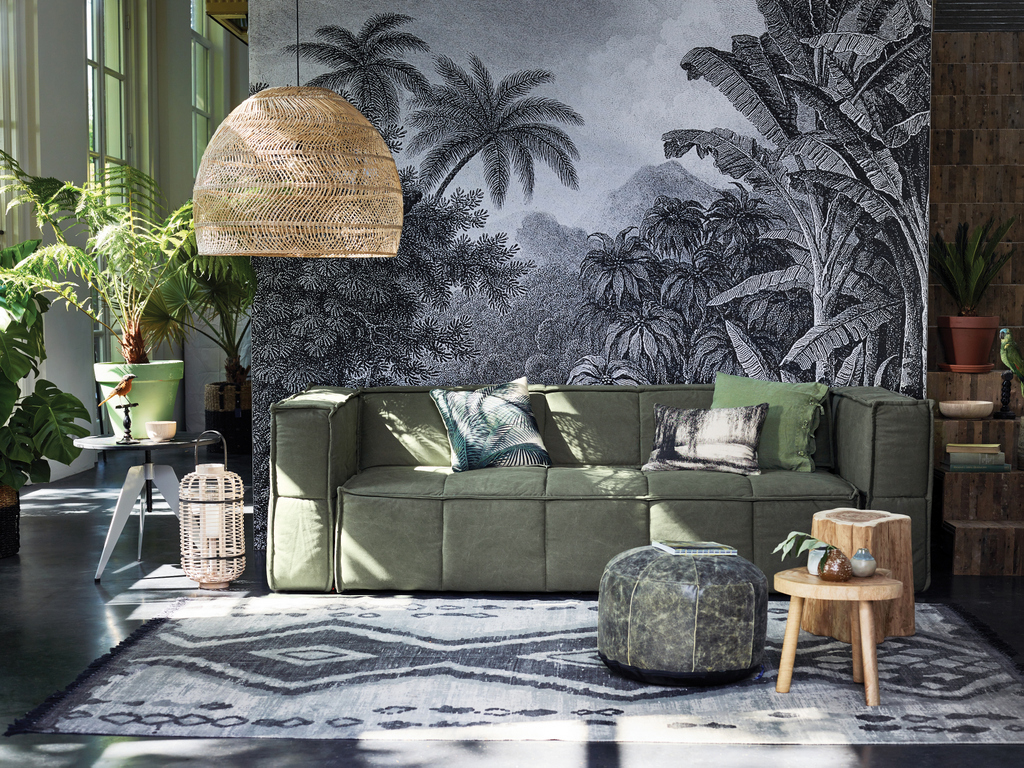 d co kaki et gris un esprit tropical chic joli place. Black Bedroom Furniture Sets. Home Design Ideas