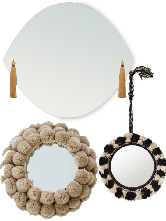 Miroir frange et pompons
