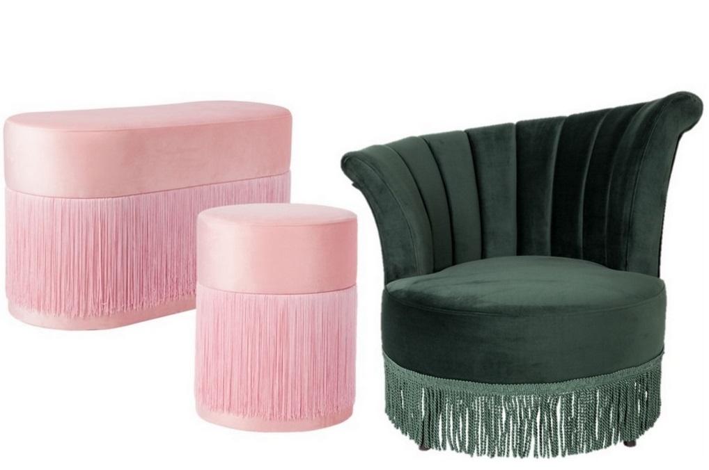 fauteuil en velours à franges