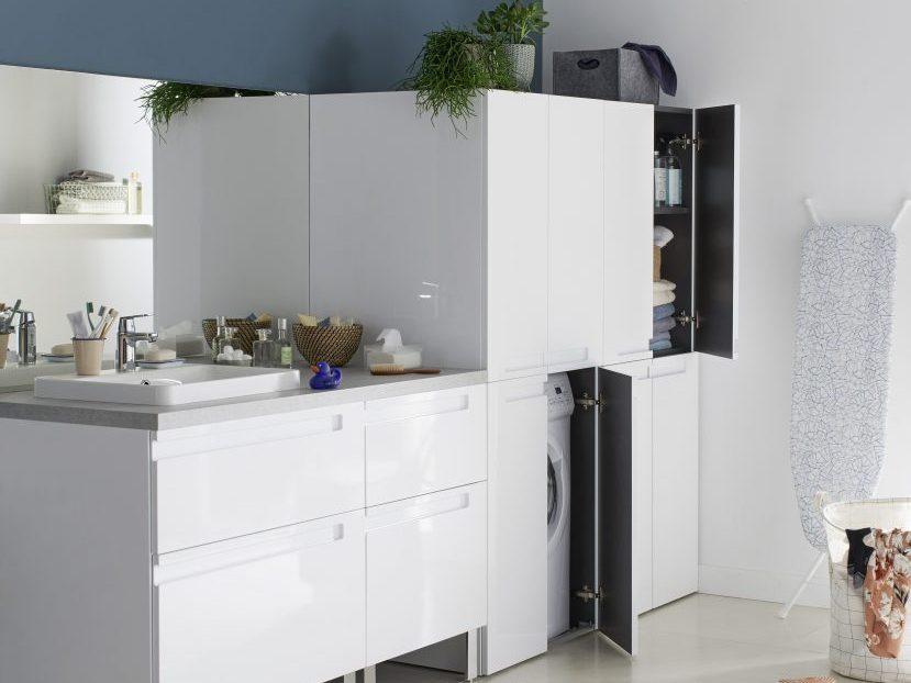 Cacher un lave linge dans une salle de bain Joli Place