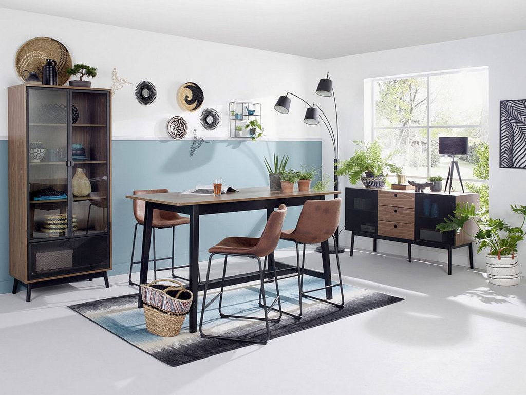 une salle manger d co tendance en bleu et noir joli place. Black Bedroom Furniture Sets. Home Design Ideas