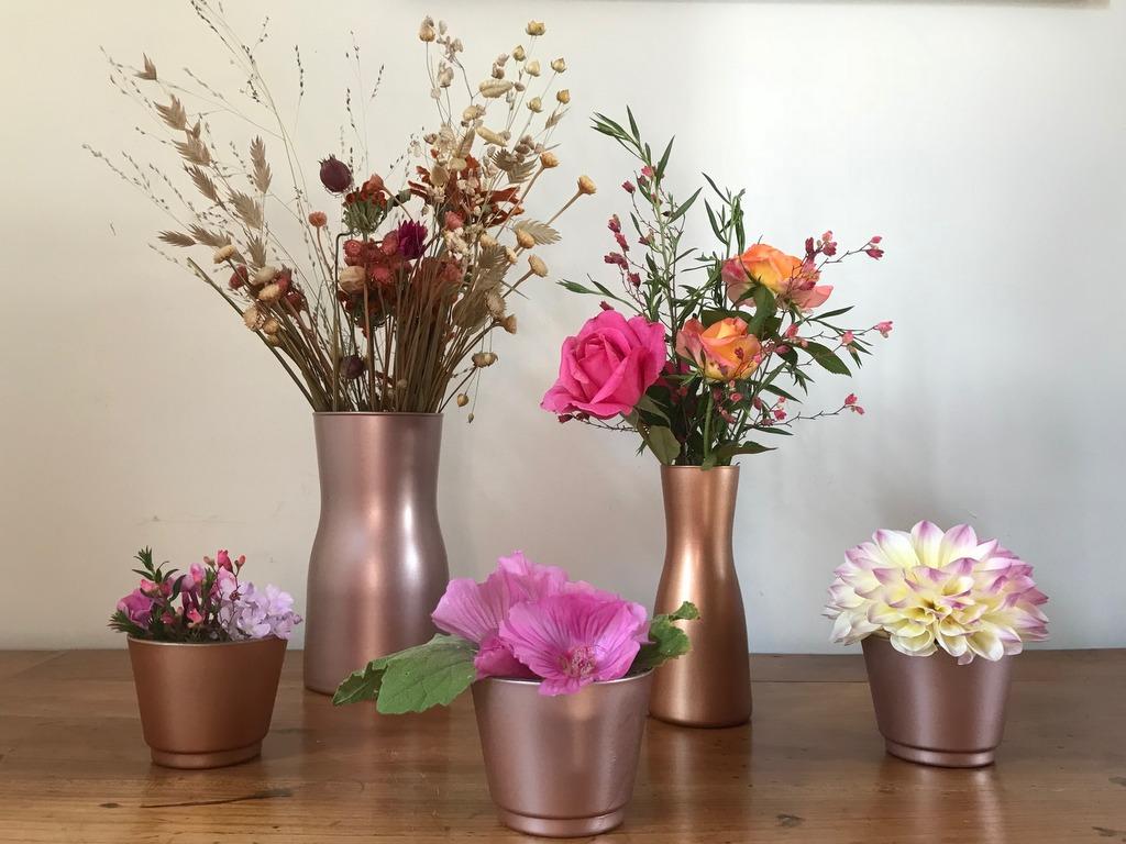 DIY vase cuivre et or