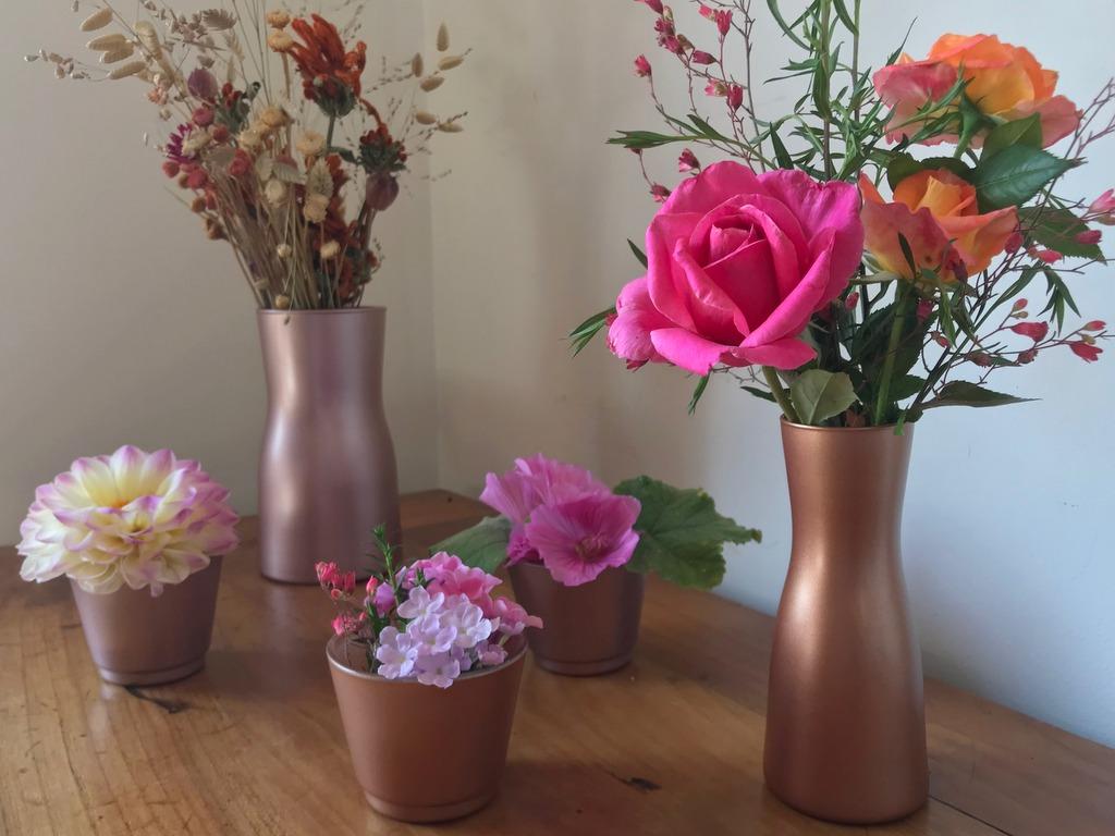 vases cuivrés et dorés DIY