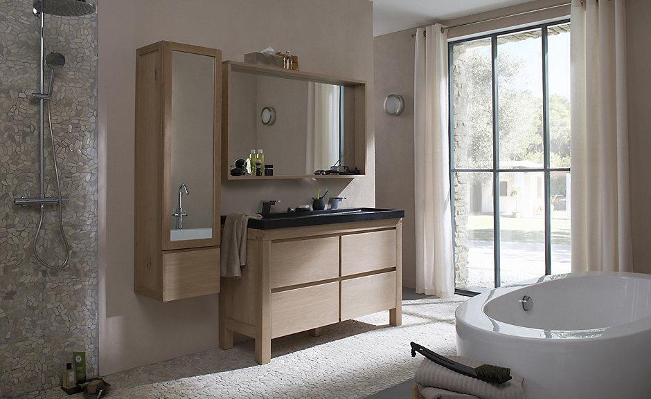 Meubles de salle de bain les 4 tendances 2018 joli place - Meuble salle de bain teck castorama ...