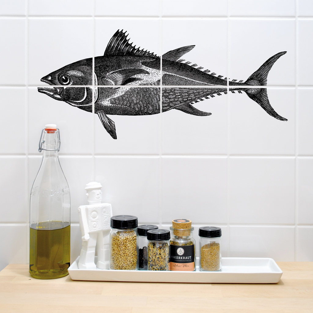 les stickers pour carrelage en forme de poissons de boubouki joli place. Black Bedroom Furniture Sets. Home Design Ideas