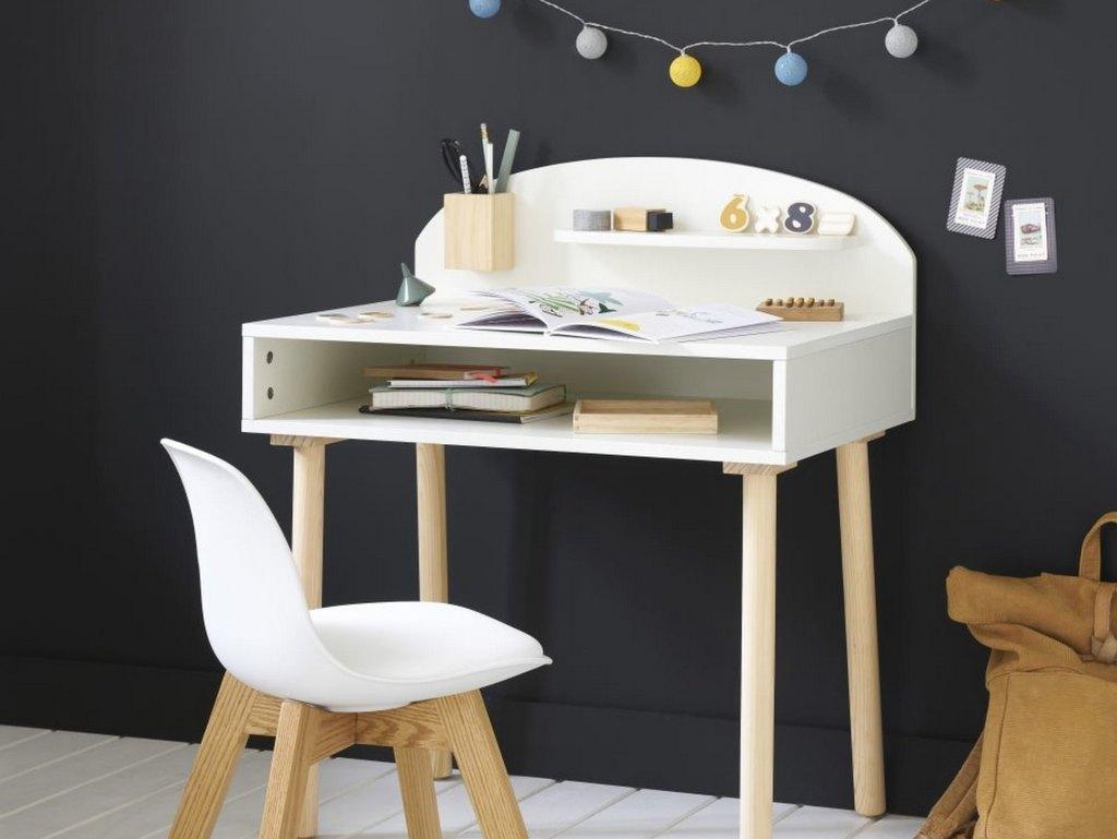 bureau enfant bois et blanc