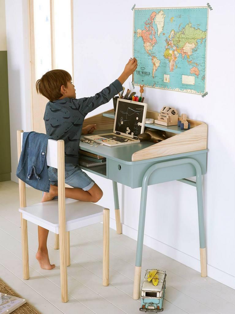 bureau enfant vert et bois