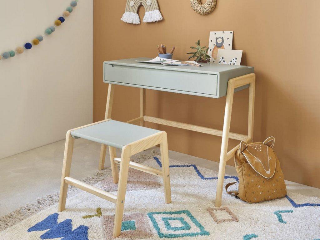 bureau et tabouret enfant vert et bois