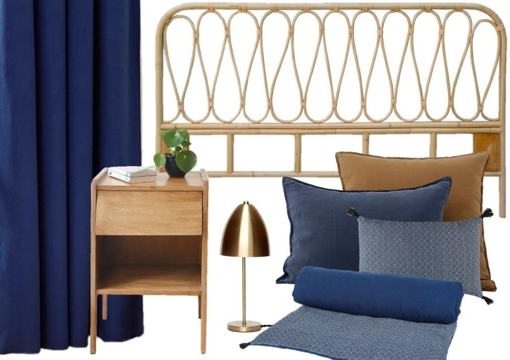 d corer une chambre en bleu beige et camel joli place. Black Bedroom Furniture Sets. Home Design Ideas
