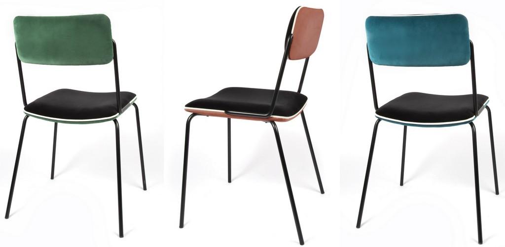 chaises en velours dépareillées