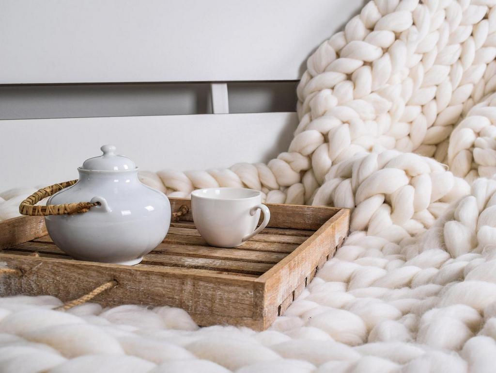 plaid en laine grosses mailles écru