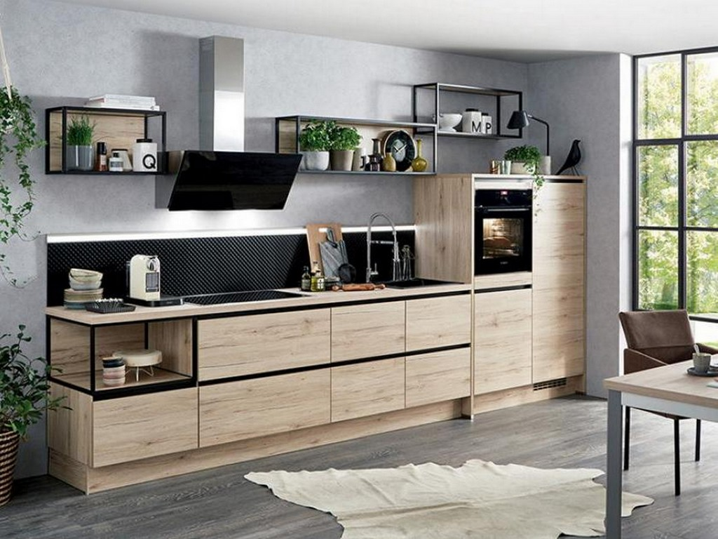 cuisine noire et bois le combo du moment joli place. Black Bedroom Furniture Sets. Home Design Ideas