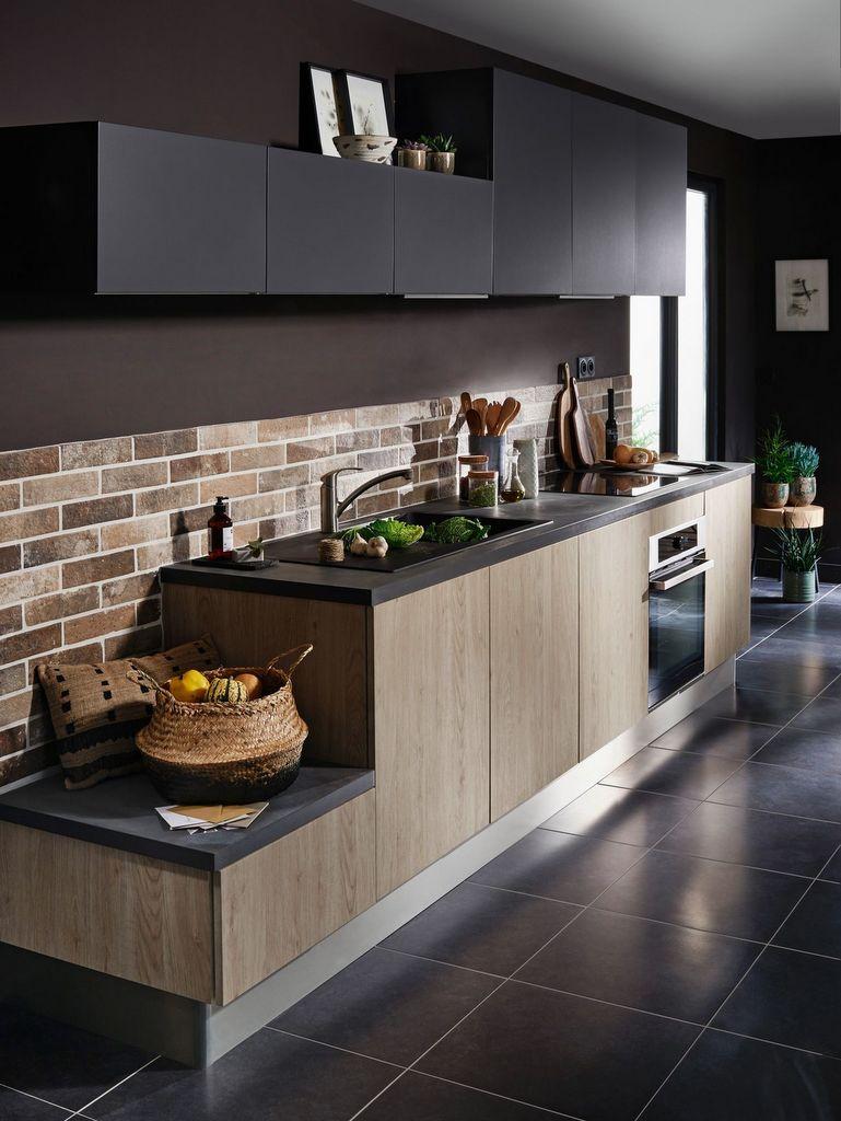 cuisine noire et bois le combo du moment joli place. Black Bedroom Furniture Sets. Home Design Ideas