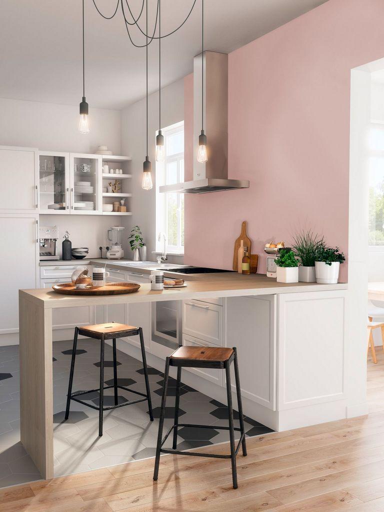 des id es pour oser une cuisine rose poudr joli place. Black Bedroom Furniture Sets. Home Design Ideas
