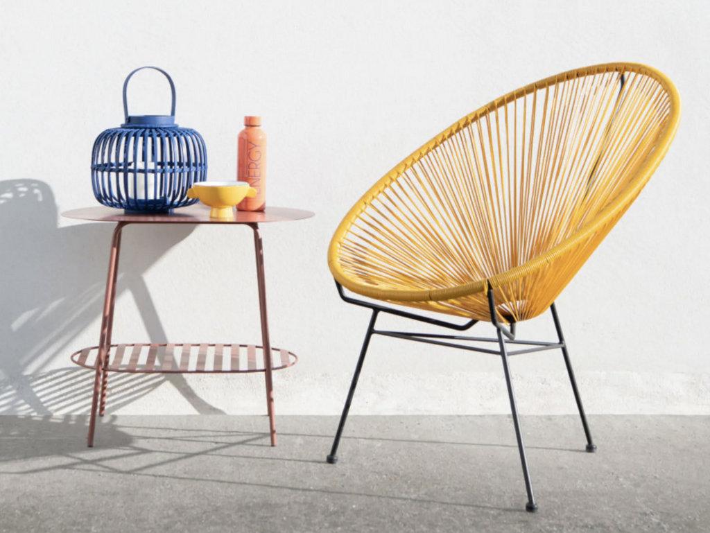 fauteuil de jardin en scoubidou