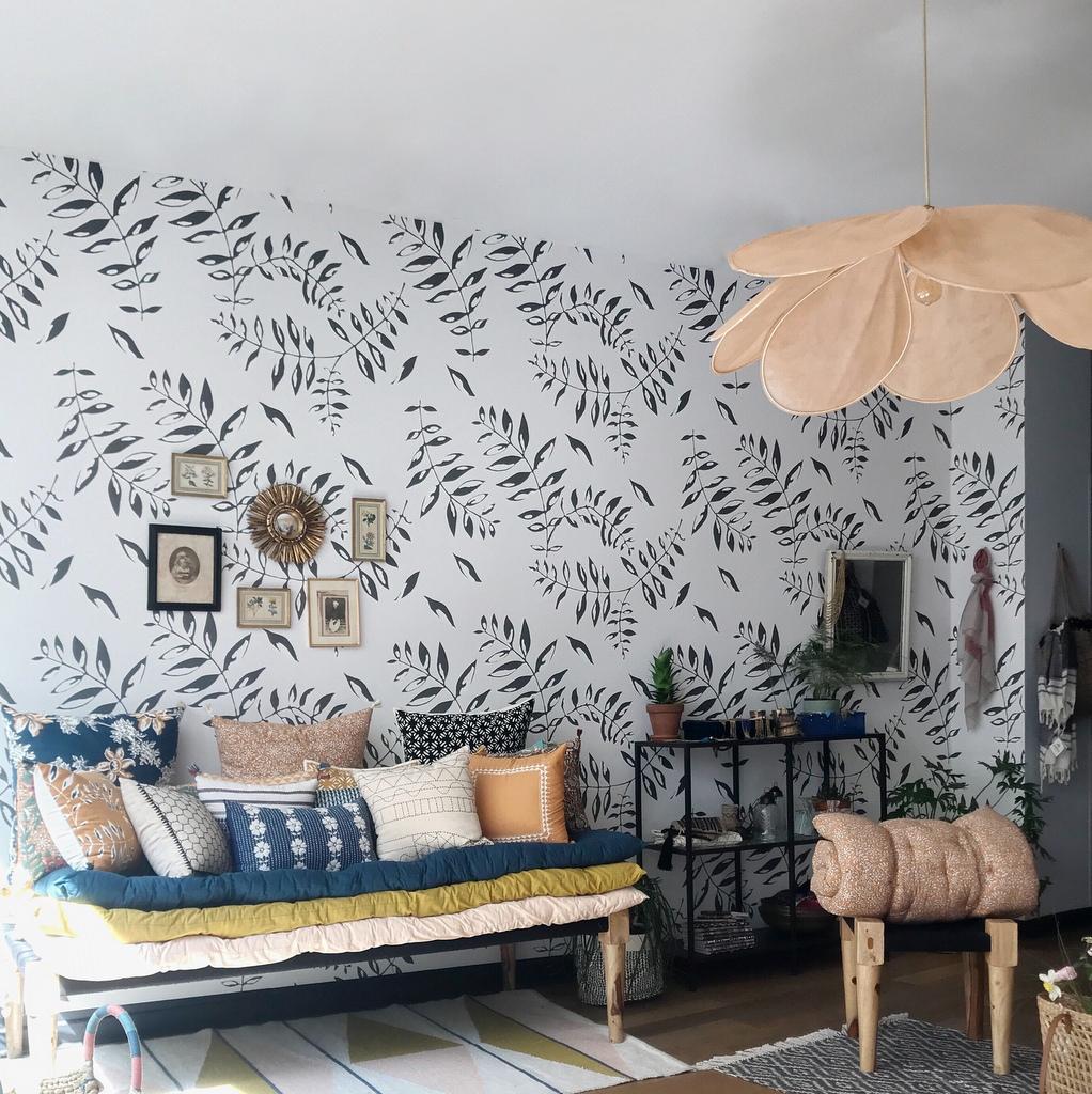 Idee Papier Peint Wc la tendance du papier peint végétal noir et blanc - joli place