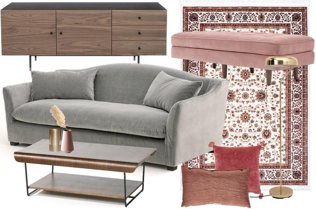 Un salon en gris et rose à la déco chic - Joli Place
