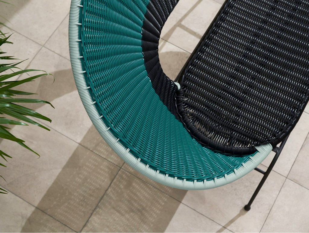 fauteuil en scoubidou bleu canard
