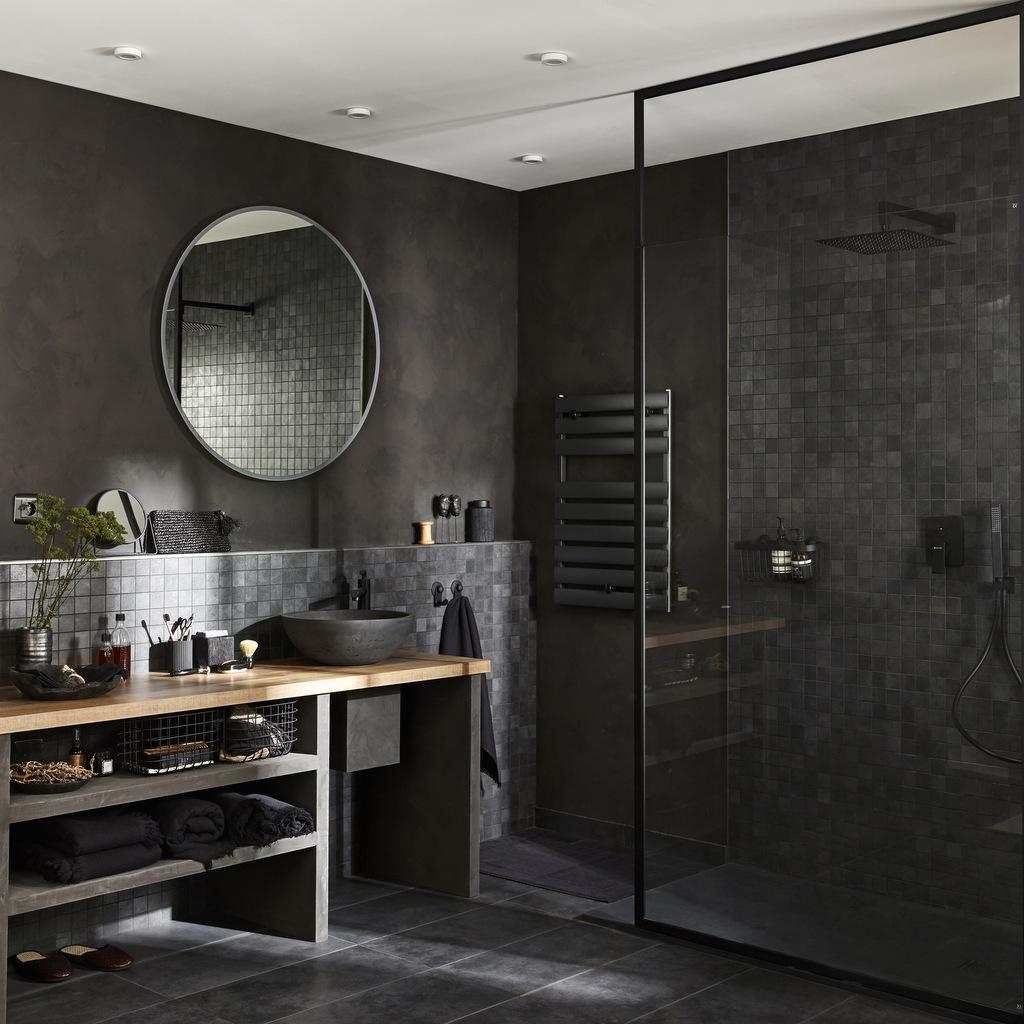 Des inspirations pour une salle de bain en noir et bois - Creer une salle de bain en 3d gratuit ...