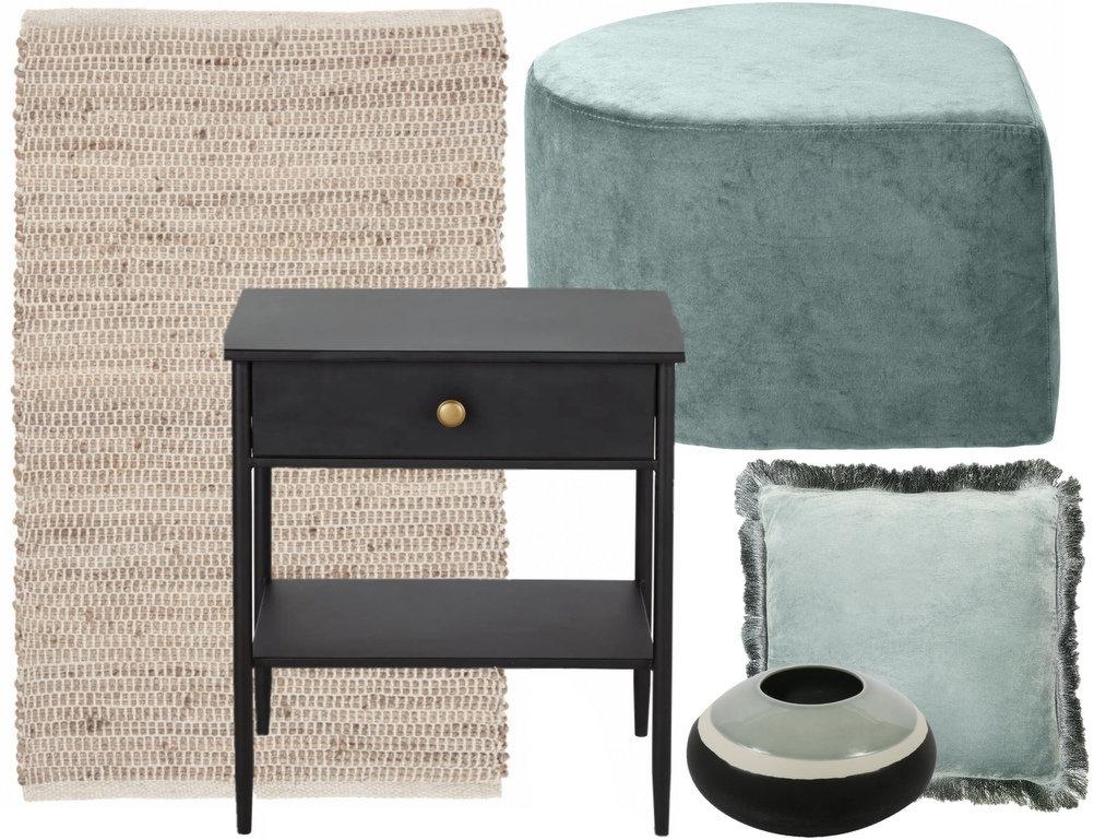 Une chambre en vert de gris, noir et blanc - Joli Place