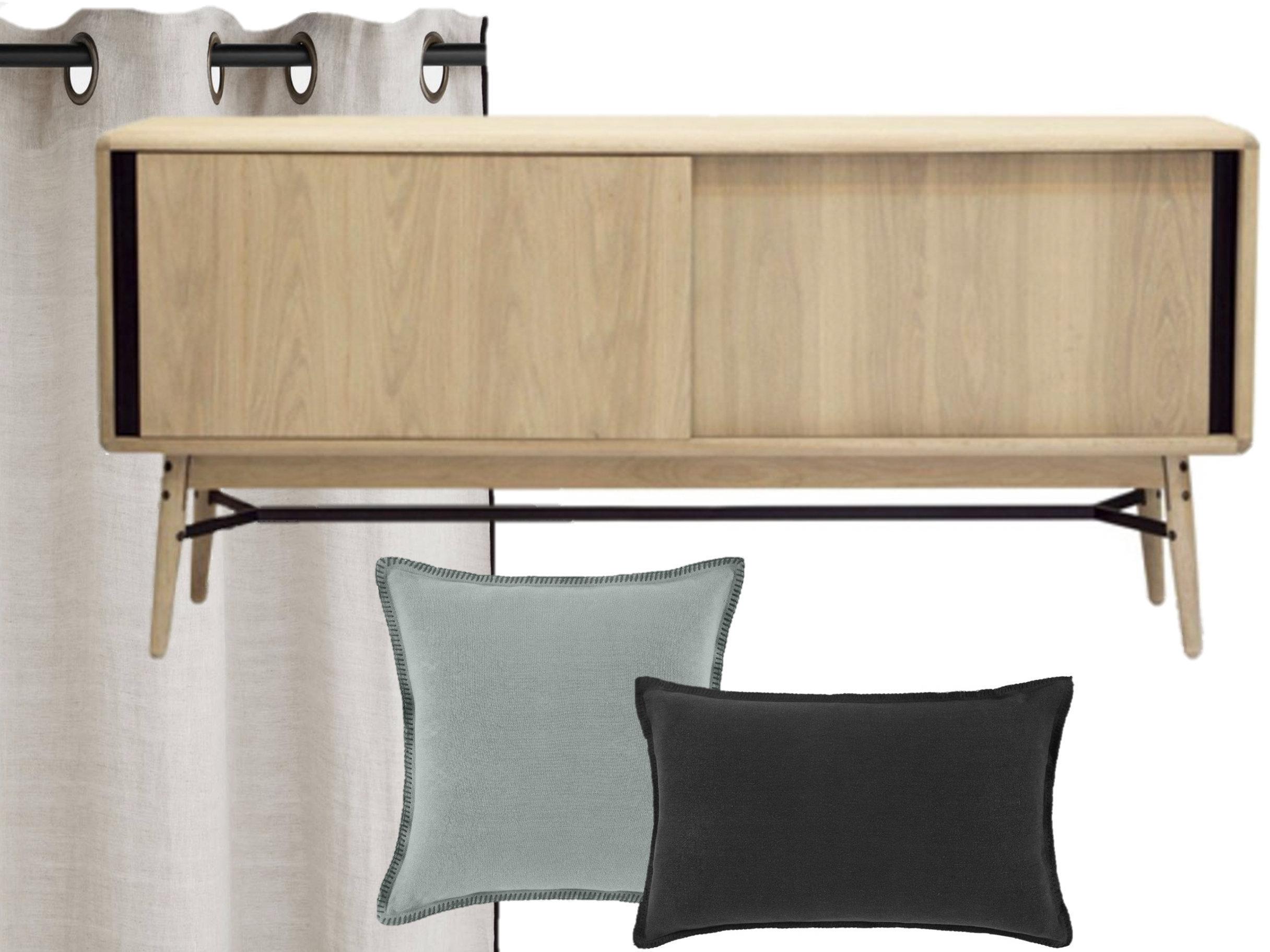 Un salon moderne beige, noir et vert - Joli Place