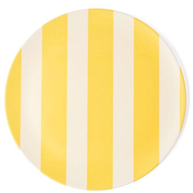 assiette en bambou rayée jaune et blanc
