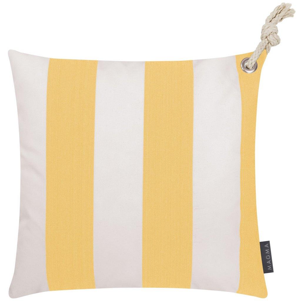 coussin extérieur rayé jaune blanc
