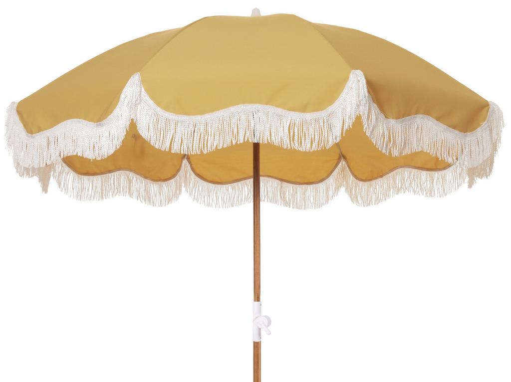 parasol jaune à franges