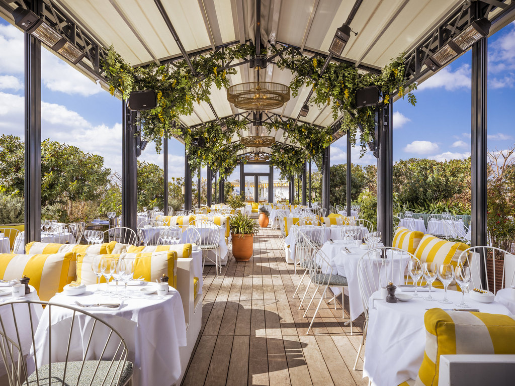 terrasse coussins rayés jaune blanc