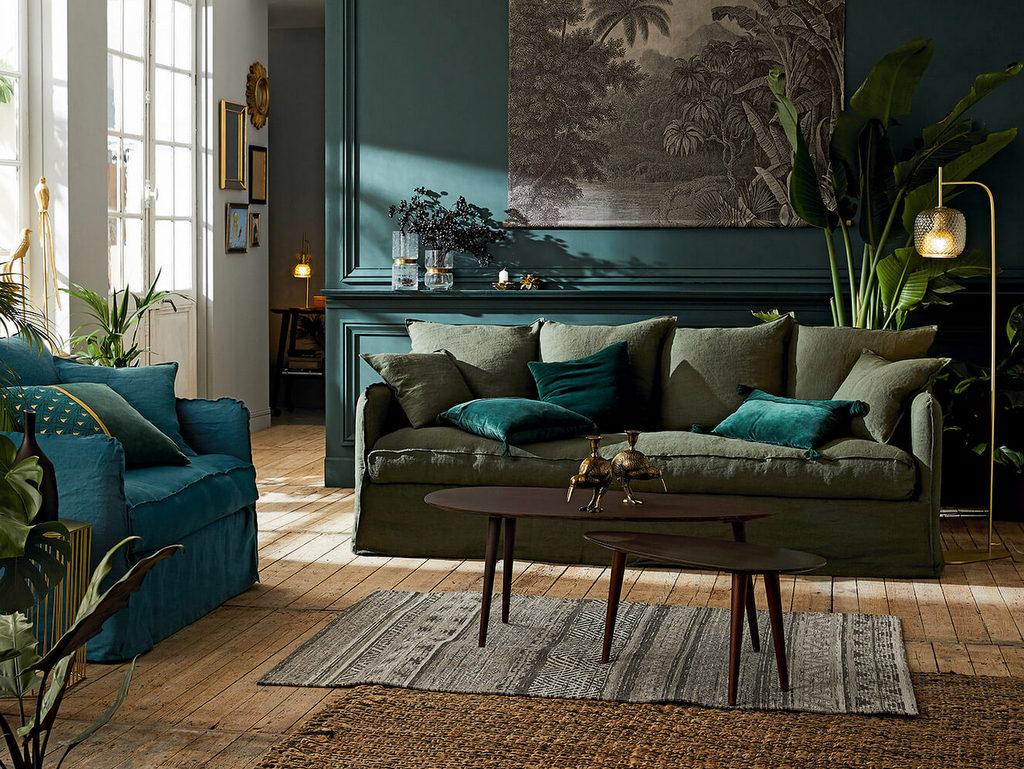 Un salon à la déco kaki et bleu canard - Joli Place