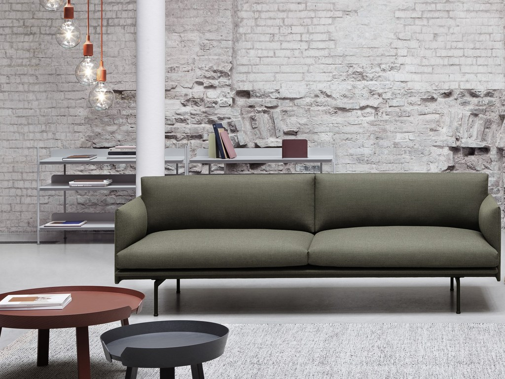 salon avec canapé kaki
