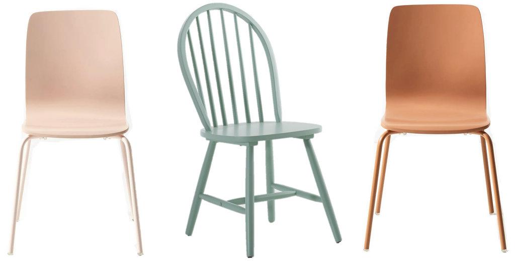 chaises dépareillées couleur