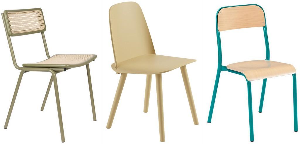 chaises couleur dépareillées