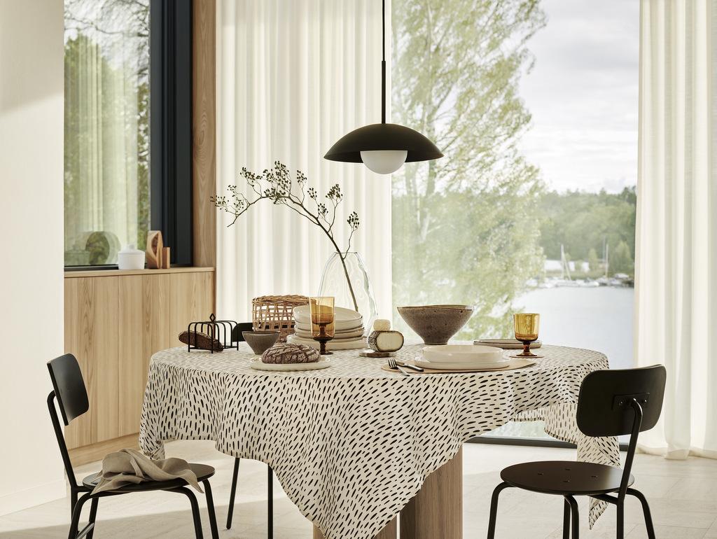 salle à manger moderne déco noir et beige