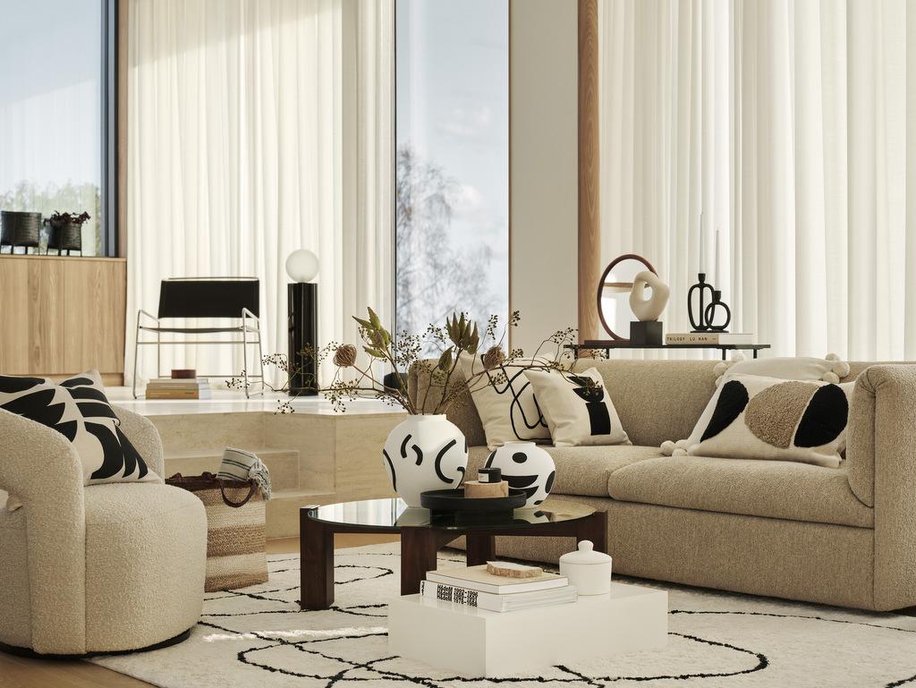 salon moderne déco noir et beige