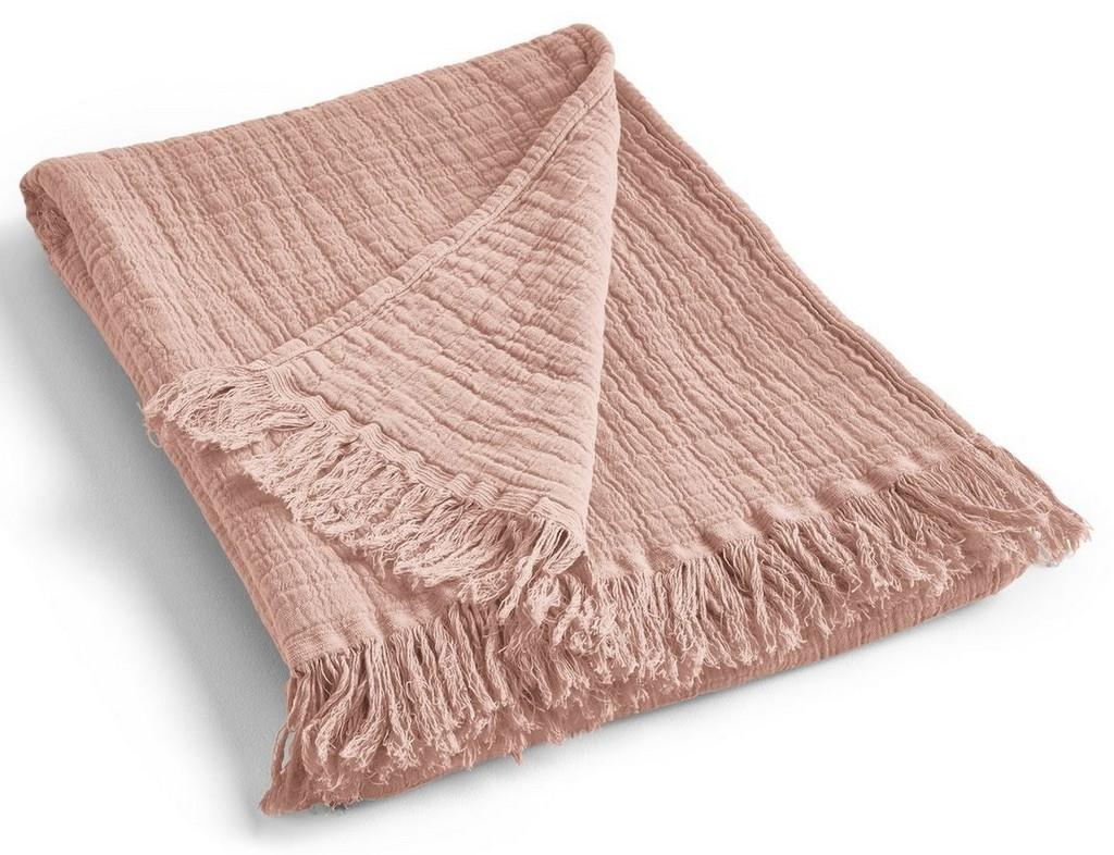 plaid en coton gaufré nude