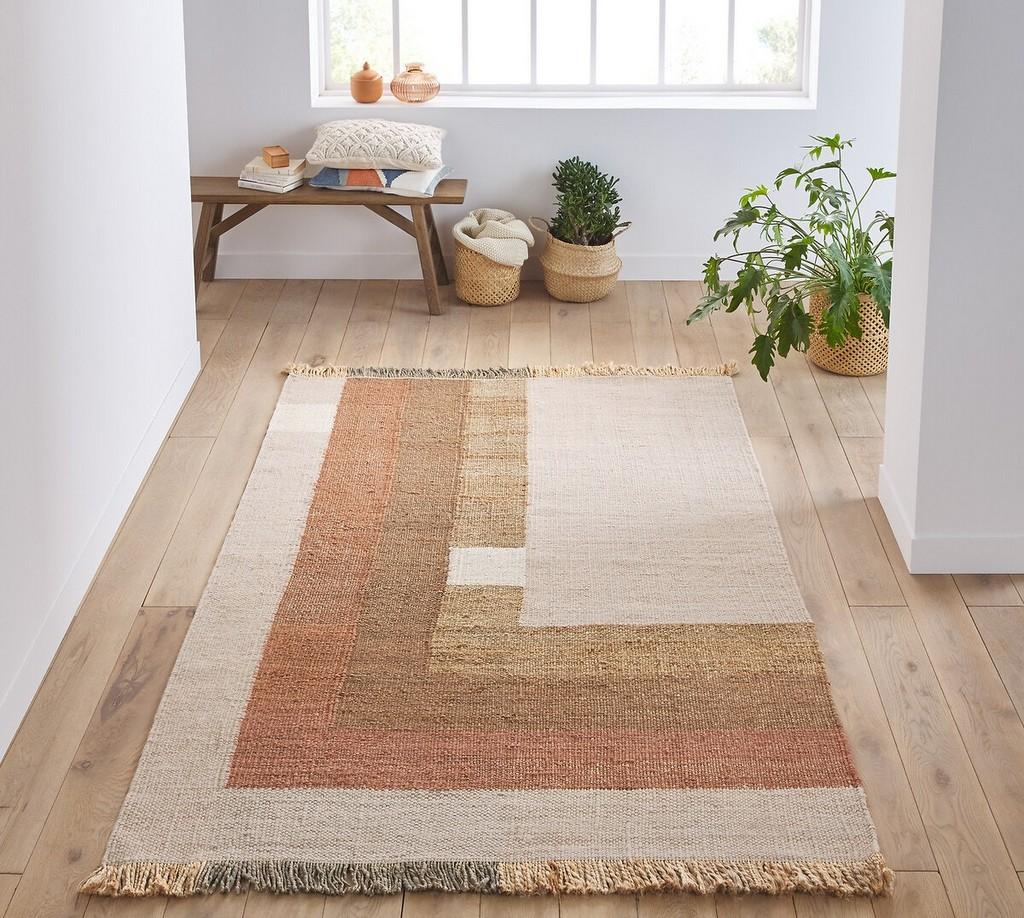 tapis entrée terracotta et beige