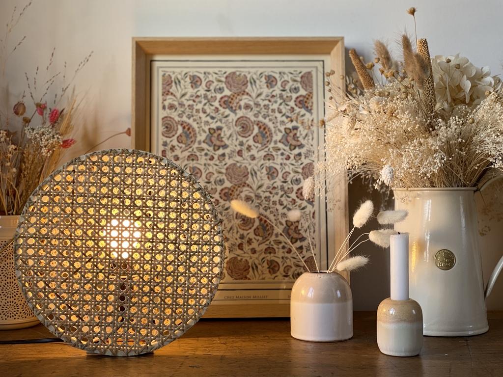 DIY lampe ronde en cannage