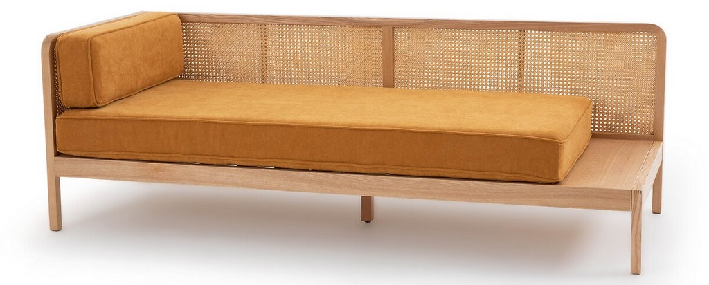 banquette daybed velours et cannage jaune