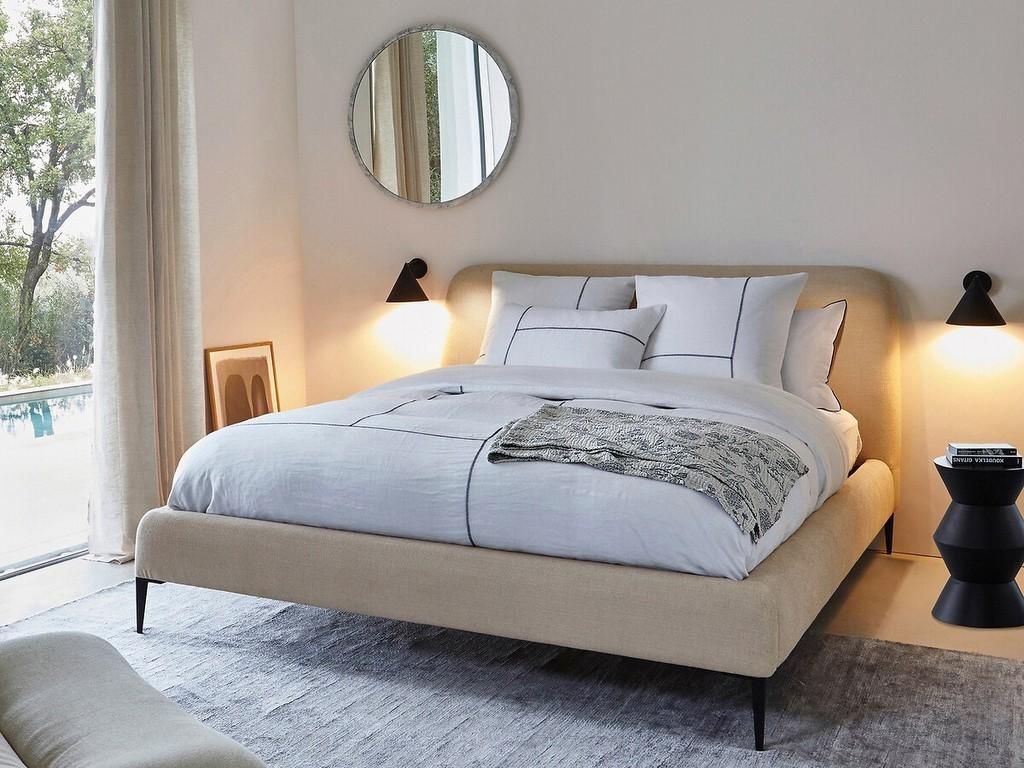 lit design en tissu beige
